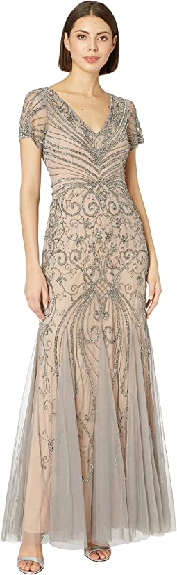 ba75116a Adrianna papell long sequin and embroidered gown | Shipped Free at ...