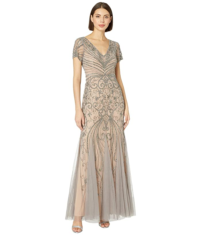 Downton Abbey Inspired Dresses Adrianna Papell Cap Sleeve Beaded Evening Gown MercuryNude Womens Dress $265.83 AT vintagedancer.com