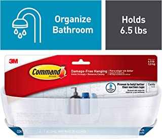 Command Shower Water-Resistant, Clear Frosted, 1 Caddy, 4 Strips (BATH11-ES), 4.8 x 11.3 x 6
