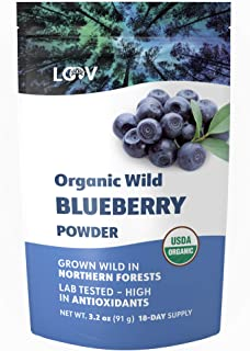 Wild Blueberry Powder Organic, wild-crafted from Nordic forests, 100% whole bilberry fruit, raw, 18-day supply, 3.2 oz, freeze-dried and powdered wild blueberries, high in anthocyanins, free e-book