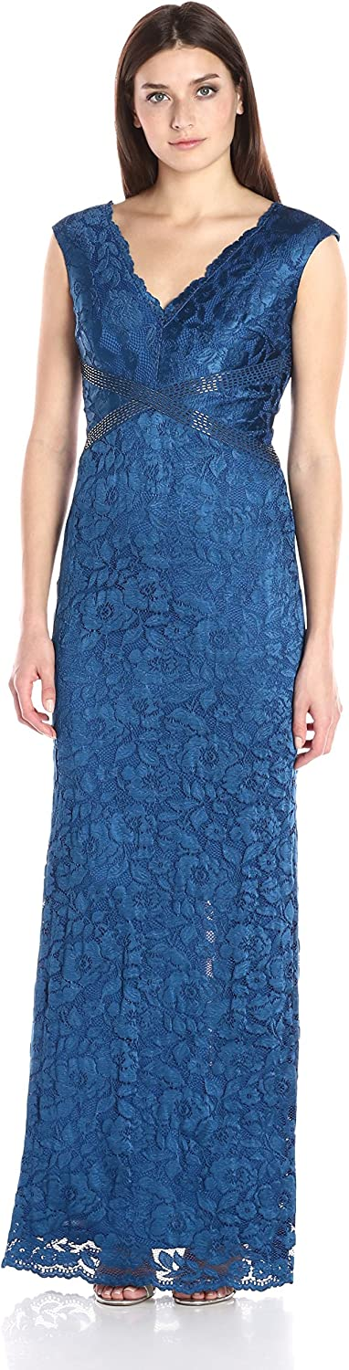 Adrianna Papell Womens Sleevless V Neck Lace Gown with Bead Detail Dress