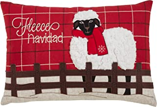 "SARO LIFESTYLE Plaid Christmas Sheep Throw Pillow, 13"" x 20"" Cover Only, Red"