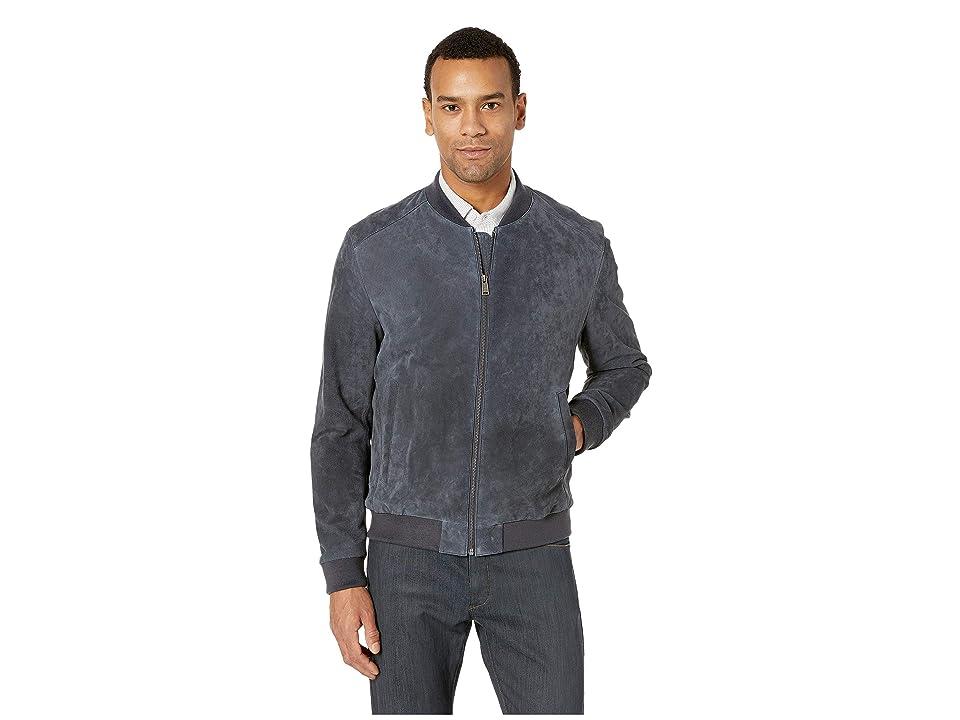 Cole Haan Suede Zip Front Water Resistant Jacket (Navy) Men