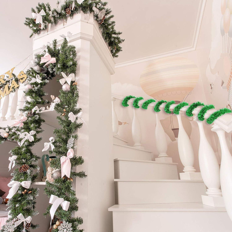 Guirnalda de Oropel Brillante de 32,8 Pies Guirnalda Met/álica de Navidad Decoraci/ón Colgante para /Árbol de Navidad Corona Boda Fiesta Plata