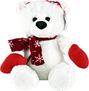 KINREX Stuffed Animal Plush Teddy Bear–Extra Soft Christmas White Teddy Bear with Santa Hat and Scarf – Great Gifts for Kids and Adults 11.81