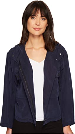 Bell Sleeve Relaxed Hooded Tencel Crop Jacket