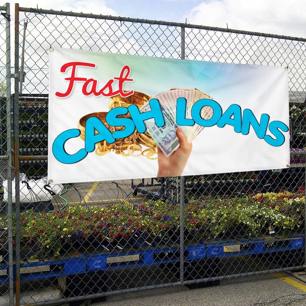 Vinyl Banner Multiple Sizes Fast Cash Loans Advertising Printing D Business Outdoor Weatherproof Industrial Yard Signs Blue 10 Grommets 60x144Inches