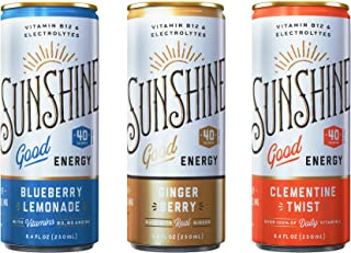 Sunshine Good Energy Drink, Variety Pack, 8.4 oz (Pack of 24), Organic Caffeine and Natural Flavors