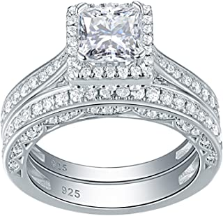 Newshe Engagement Wedding Ring Set for Women 925 Sterling Silver 1.5ct Princess White AAA Cz Sz 5-12