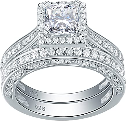 Newshe Engagement Wedding Ring Set for Women 925 Sterling Silver 1.5ct Princess White AAA Cz Sz 5-10