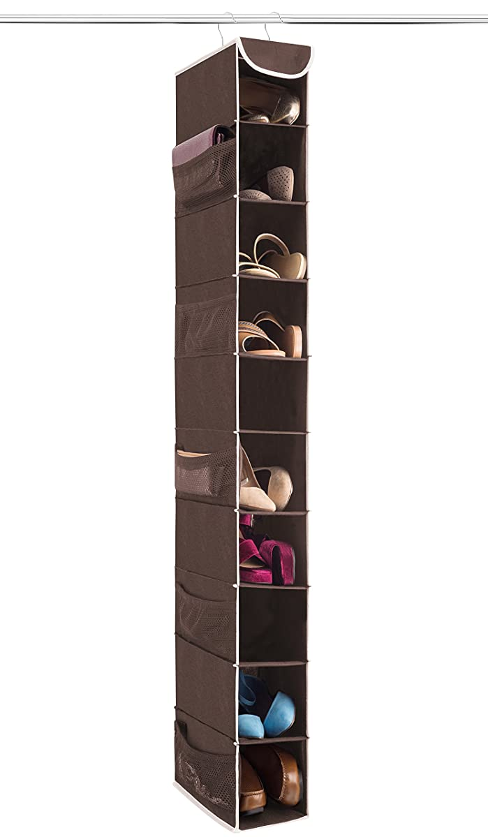 "ZOBER 10-Shelf Hanging Shoe Organizer, Shoe Holder for Closet - 10 Mesh Pockets for Accessories - Breathable Polypropylene, Java - 5 ?"" x 10 ?"" x 54"""