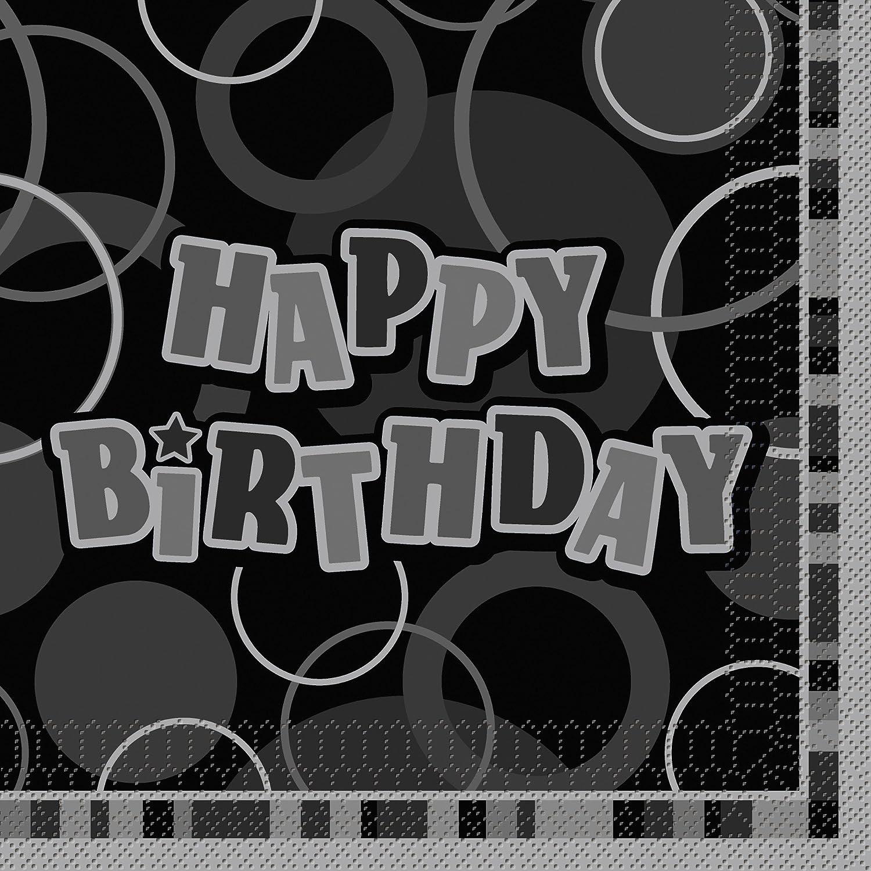 Pack of 16 Unique Party 28486 Glitz Black 13th Birthday Paper Napkins