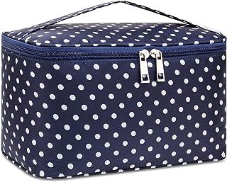 Travel Makeup Bag Large Cosmetic Bag Make up Case Organizer for Women and Girls (Large, Polka Dot)