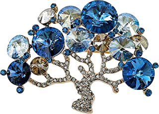 MOONSTONE Fashion Brooches for Women Elegant Colored Family Tree of Life Round Swarovski Crystal Elements, Mix Gold Multi ...
