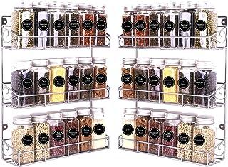 SWOMMOLY 2 Pack Wall Mount Spice Racks, 3-Tier Storage Shelf Organizer, Silver, Medium