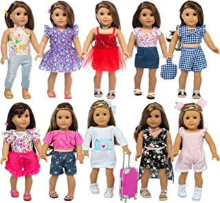 ZITA ELEMENT 20 Pcs American Doll Girl Doll Travel Suitcase Luggage with Clothes and Accessories for 18 Inch Doll Outfits,...