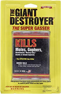 The Giant Destroyer (GAS KILLER) (12/4PK TOTAL) 48 kills Moles, Gophers, Woodchucks, Norway Rats, Skunks, Ground Squirrels in their Holes, Tunnels, Burrows. NO dealing w/ dead pest, better than traps