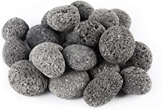 Skyflame 10 Pounds Natural Tumbled Stones Lava Rock Granules for Gas Log Sets | Fireplaces | Fire Pit | BBQ | Garden Landscapes | Cultivation of Potted Plants | Indoor Outdoor Use | 2-3 Inch Sized