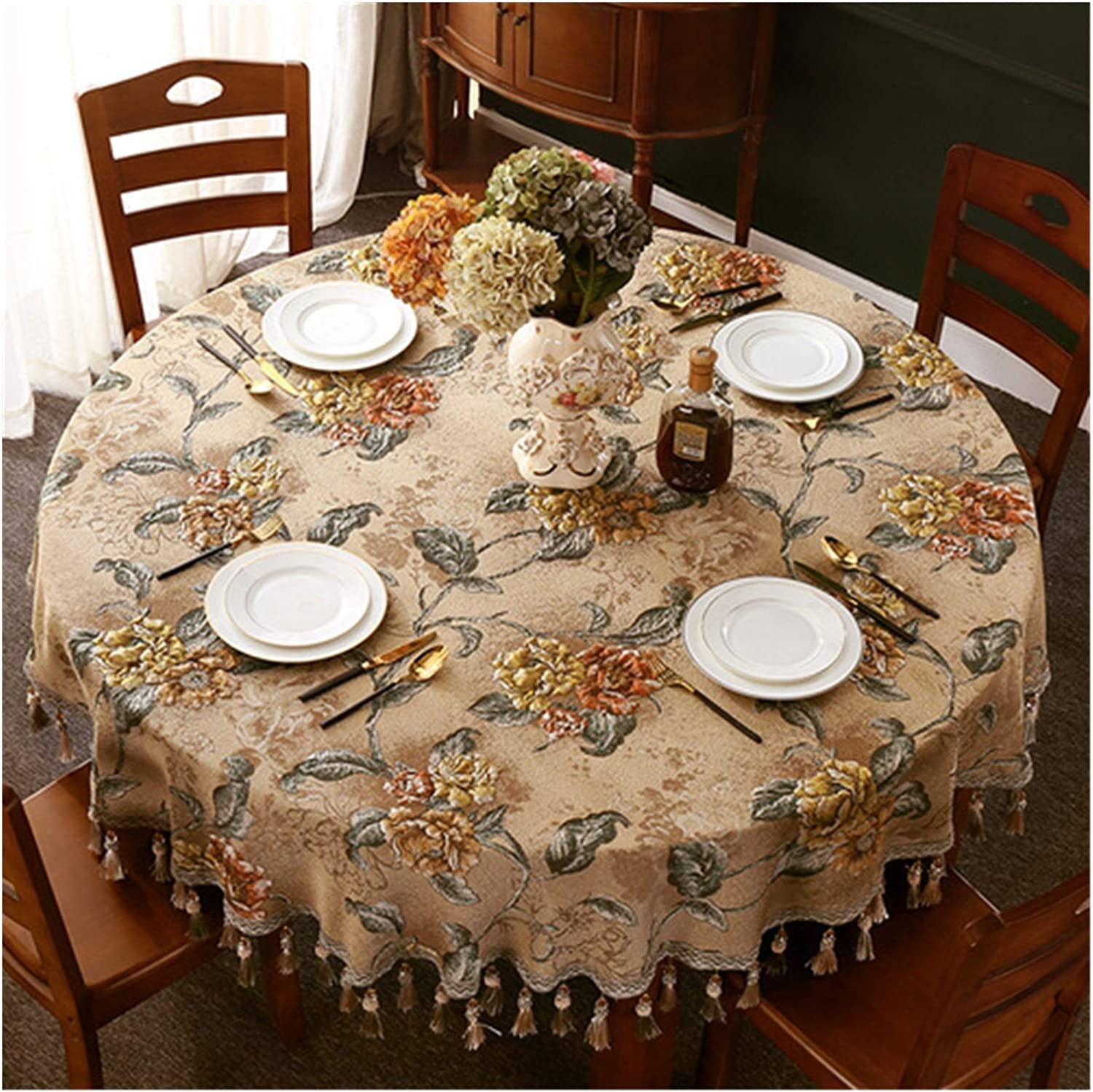 JSJJWSX Round Fashion Table Cloth Jacquard with New mail order Tassel Cover