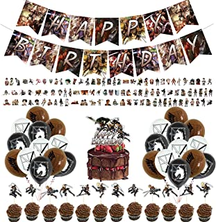 Attack on Titan Party Supplies 1 Happy Birthday Banner 1 Big Cake Topper 12 Cake Toppers 24 Pieces Colorful Balloons 100 Stickers