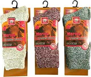 3 Pairs Women Winter Warm Merino Wool Sock Heavy Duty Crew Socks 2.3 TOG Warmth Rating