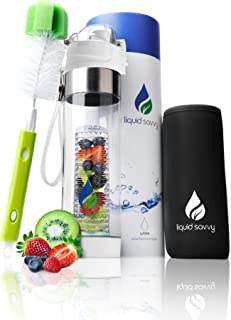 Liquid Savvy 24oz Water Infuser – Fruit Infused Water Bottle with Bottle Brush, Neoprene Insulated Sleeve, Leak Proof Flip Top Lid, Toxin-Free Plastic with Bottom Infusing Design and Strainer