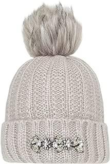 Rino and Pelle Women's Masie Diamante Trim Bobble Hat Grey