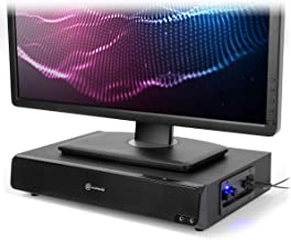 GOgroove 2.1 Computer Speakers and Monitor Stand 2-in-1 System - SonaVERSE BSE 3 inch Computer Monitor Riser with Built-in USB Speaker Sound Base, Mic and Headphone AUX Ports, Volume & Bass Controls