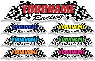 Custom Your Name Racing with Checkered Flags | Trailer Decal Graphics | Different Size & Color Options