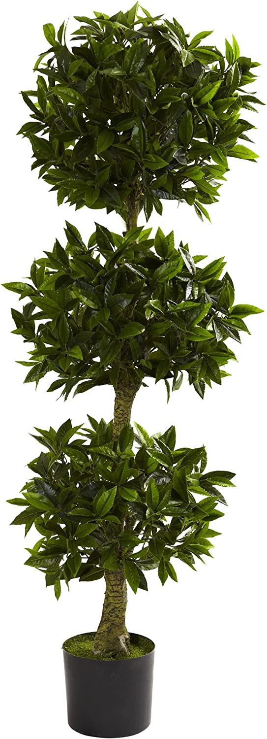 Nearly Natural 5381 5ft. Triple Bay Resistant Max 60% OFF At the price of surprise Topiary I Leaf UV