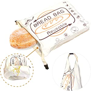 Tribe Glare Organic Cotton Bread Bag - Reusable, Premium Bread Bag - Bakery Supplies and Food Storage Solutions - 100% Recyclable and Sustainable - Zero Waste, Vegan Friendly,Cream