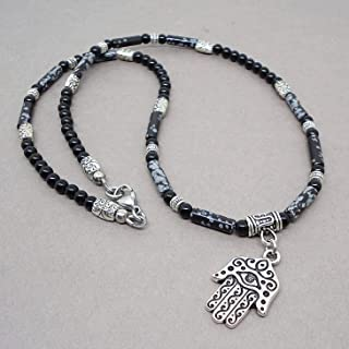 Hand of Hamsa (Fatima) Amulet Charm Men's Necklace 18, 20, 22 inch - Snowflake Obsidian Black Onyx Gemstone Handmade