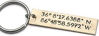 Coordinates Keychain, Personalized Keychain, GPS Longitude Latitude, Hand Stamped Key Chain, Custom Coordinates Keychain, Graduation Gift