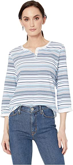 750886474 Printed Jersey Stripe Henley Neckline Top. FDJ French Dressing Jeans