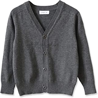 CUNYI Little Boys Button-up Cardigan V-Neck Cotton Knit Sweater Casual Outerwear