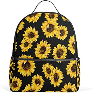 Use4 Yellow Sunflower Black Polyester Backpack School Travel Bag