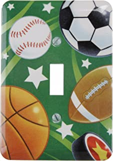 Amerelle Single Toggle Steel Wallplate in Juvenile Sports Theme