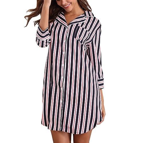 Giorzio Women Nightshirt 3 4 Sleeve Cotton Sleep Shirt Button Down Nightie  Sleepwear S- 78fb45e40