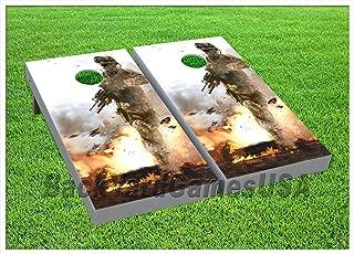 BackYardGamesUSA Cornhole Boards BEANBAG TOSS Game w Bags US Military Army Marine Soldier Set 177