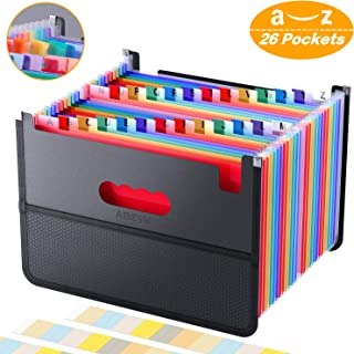 26 Pockets Accordian File Organizer,Expanding Filing Box with Mesh Bag,Expandable A4/Letter Size Folder, Accordion Document Organizer,Portable Paper/Bill/Receipt Folders with 3 A-Z Alphabet Blank Tabs