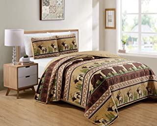 Rugs 4 Less Southwestern Great Outdoors Cabin Lodge Bedspread Quilt Set with Wildlife Imagery of Elk Buck Deer Grizzly Bear Roaming The Pine Forest in Beige Brown - Wilderness (King/Cal-King)