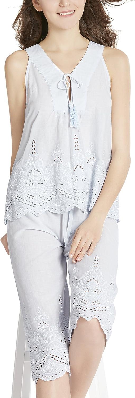 Ink+Ivy Summer Pajamas Set for Women  100% Cotton Capri Pajama, Camisole V Neck Lounge Capris Pjs Sets