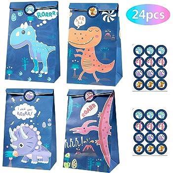MOOKLIN ROAM 24 piezas Dinosaurio Bolsas de Papel Regalo Kraft ...