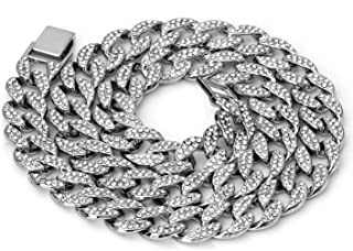 Mens Iced Out Hip Hop Silver or Gold Tone CZ Miami Cuban Link Chain 16