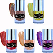 Beromt Holographic Gel Finished Shimmer Nail Polish, Holographic Nail Art Combo Gift of 5-510,505,
