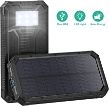 Solar Charger, STOON 15000mAh Solar Power Bank Phone Charger with Dual USB Ports for iPhone, iPad, Galaxy and More, Portable External Battery Pack with 6 LED Lights for Outdoor Camping Travelling