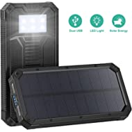 Solar Charger, STOON 15000mAh Solar Power Bank Phone Charger with Dual USB Ports for iPhone,...