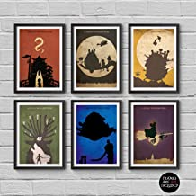 Hayao Miyazaki Minimalist Poster Set 6 My Neighbor Totoro Spirited Away Howl's Moving Castle Princess Mononoke Castle in the Sky Kiki's Delivery Service Print Wall Artwork Home Decor Hanging Cool Gift
