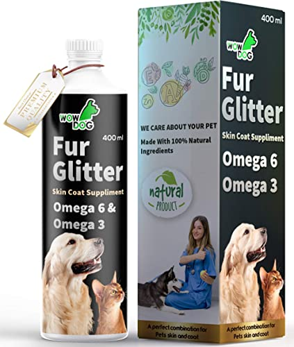 WOW DOG Fur Glitter Dog Hair Fall Control & Skin Coat Disease Solution with Concentrated Fatty Acids Supplement Omega...