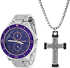 Steve Madden Link Watch and Cross Pendant Necklace Jewelry Set for Men (Various Colors)